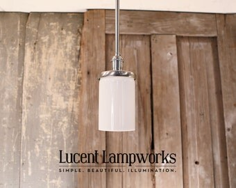 Downrod Lighting with Opal Glass Cylinder Shade