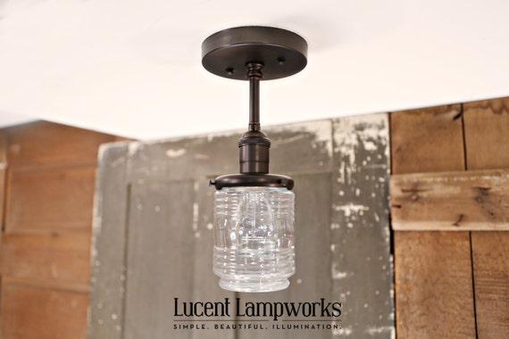 Flush Mount Lighting with Jar Style Glass Shade - Semiflush lighting