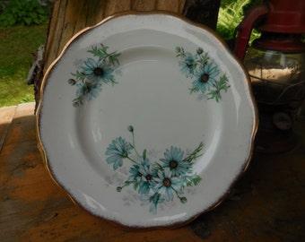 Vintage Royal Albert Bone China England Marguerite Decorative Plate Teal/Aqua Daisy Like Flowers Gold Trim Salad Medium Size