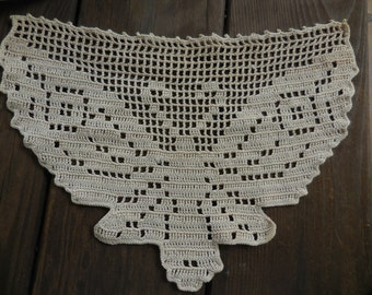 Vintage 1950s to 1960s Off White Crocheted Butterfly Doily Furniture Protector Couch/Sofa Decoration