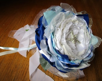 Beach wedding bouquet in ivory and blue Bridal or Bridesmaid bouquet large single flower bouquet Beach wedding accessory Extra large flower