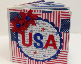 4th of July scrapbook premade pages Chipboard Board Book Photo Album - 5x5