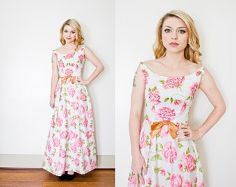 Vintage EMMA DOMB Dress - 1960s Floral Pink Sequin Gown Party Maxi Dress 60s - Extra Small