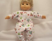 Whimsical print on bright white jersey footed Sleeper for 14 to 16 incy baby dolls.