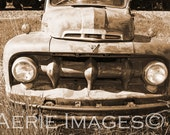 Vintage Ford F150 Pickup Truck, Front View and Grill, Sepia Photo 8x10 or 5x7