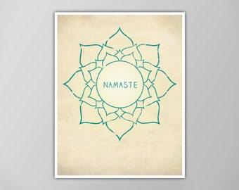 Namaste Lotus Print, Lotus Art Print, Yoga Poster, Lotus Flower Poster, Wall Art, Namaste Print, Zen Art Print, Namaste in Lotus, Yoga Art