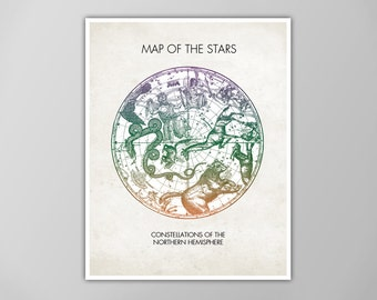 Map of the Stars, Vintage Constellation Map for Northern Hemisphere, Constellation Map Poster, Star Map Print, Constellation Illustration