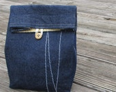Sale -Denim Cloth lunch bag  // Re-useable lunch sack // washable lunch bag
