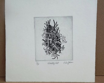 Mid Century Black and White Etching by California artist R. Lin Johnson titled Chastity Belt