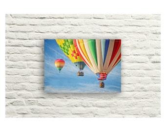 Hot Air Balloon Photography. Canvas Wall Art. Colorful Nursery Art. Balloon Nursery theme. Children's Room Art. Blue Red Green Yellow Orange
