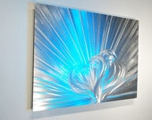 Love Silver Metal Art Heart modern coloured light reflective Aluminum wall sculpture bed living room home Decor hand made by Lubo Naydenov