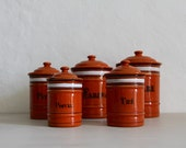 Rare Antique French Set of 5 Enamel Canisters / Storage Set Orange and Black Graniteware Interior
