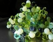 GREEN ENVY  Czech Glass Luster Drops . 6x9mm  25each purple blue green peridot  (bk031)