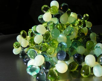 GREEN ENVY  Czech Glass Luster Drops . 6x9mm  25each purple blue green peridot  (bk031)