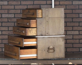 Vintage Machinist Cabinet Chest w/ Locking Drawers, Antique Wood Toolbox, Industrial Box.