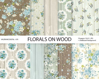 Floral Digital paper pack , wooden digital paper, blue flowers on wood, Cottage Papers, blue roses -  676