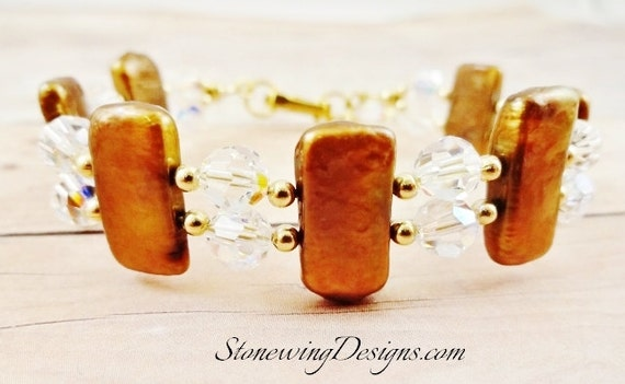 Two Strand Biwa Stick Pearl and Swarovski Crystal Bracelet