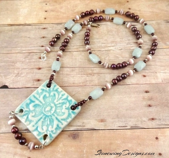 Amazonite, Artisan Ceramic and Mauve Pearls Necklace
