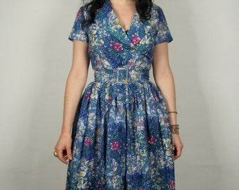 50s sheer blue watercolor dress