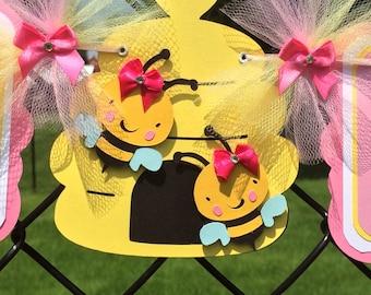 bee baby shower banner, bee banner, it's a girl banner, bee girl banner, pink and yellow decor, bee decorations, bee baby shower, photo prop