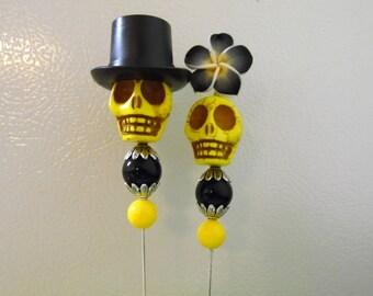 Day of the Dead Cake Topper Yellow Black Sugar Skull Bride Groom Wedding Caketopper
