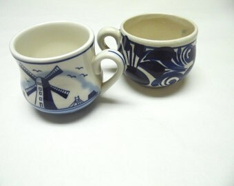 Blue And White Coffee Cup Mug Delft Set of Two