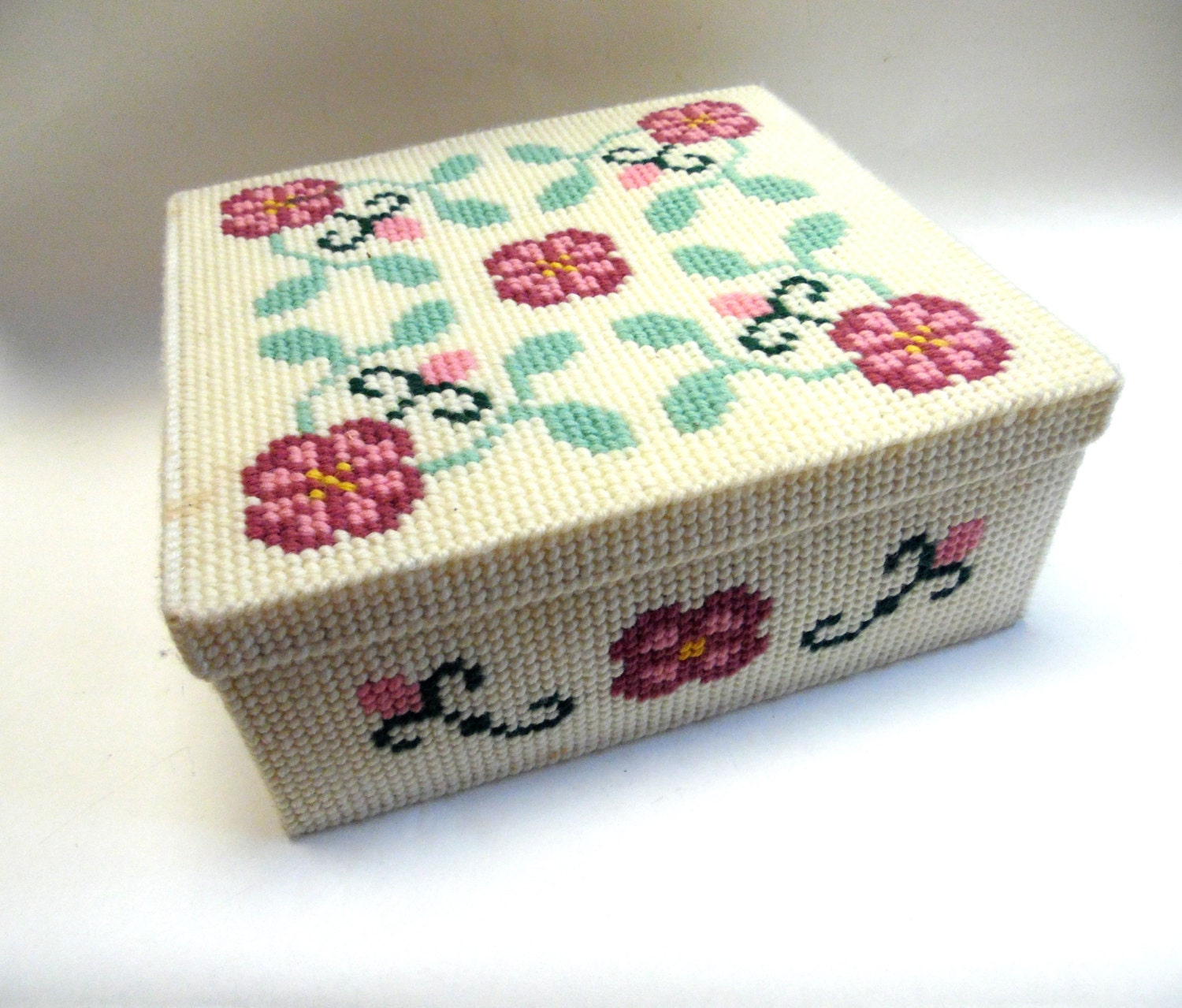 Embroidery Plastic Canvas Box Tin Lined Rose Decorative
