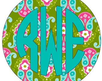 Custom Personalized Monogram Car Window Decal Sticker PAISLEY Summer or Any Color Monogram 5-5.5""