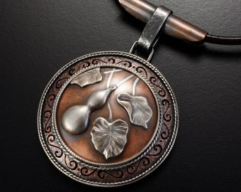 Gourd motif silver and copper round Japanese art pendant necklace