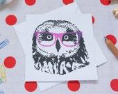 Owl in glasses greetings card