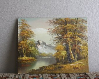 vintage landscape painting mountains lake and trees - signed, painted on wood