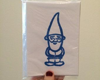 Garden Gnome Linocut Card