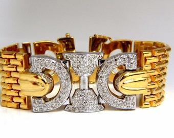 Vintage Art Deco 1.50CT Diamonds Wide Caliber Bracelet 14KT