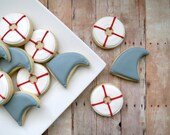 Shark and Life Preserver Decorated Cookies - 2 Dozen
