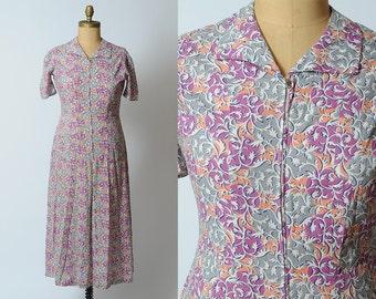 1940s dress/ 40s cotton zipper dress/ large