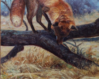 I Smell a Rat (or Mouse)-Red Fox (original oil painting)