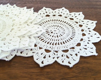 White Crochet Coasters, Set of 6, Tea / Coffee Coasters, Snow White Flower Doily, Christmas Gift for Mother