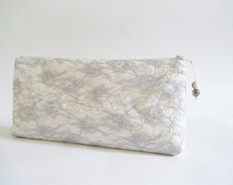 Gray Lace Clutches Set of 12 Wedding Gifts, Will You Be My Bridesmaid Proposal Gift Purse, Bridal Accessory Bags Dozen