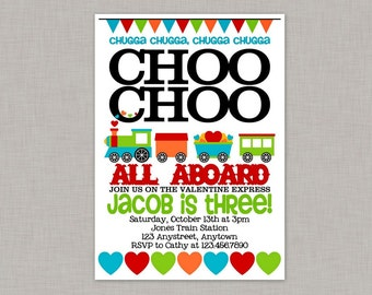Valentine Birthday Party Invitation, Train Birthday Invitation