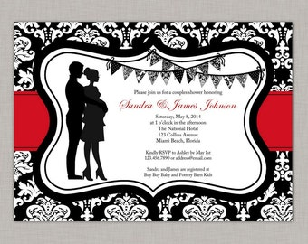 Couples Baby Shower Invitation, Baby Shower Invitation, Damask, Printable
