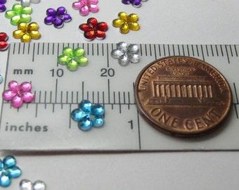 mixed rhinestones flowers gems flat back 6mm acrylic 25 pcs kawaii nail art deco cell phone decoden flatbacked scrapbooking accent rainbow