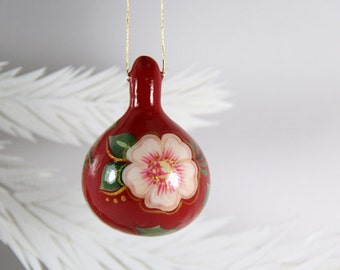 Gourd Ornament 245, Roses and Holly, Hand Painted Christmas Decor, Hostess Gift, Red White Green Gold Mini Painted Natural Gourd, Gourd Art