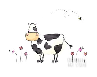 Country Cow Illustration - 8 x 10 Print