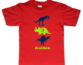 Dinosaur Birthday Shirt -up to three dinos of your choice - any age and name - pick your colors!