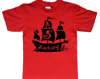 Pirate Birthday Shirt - Pirate Ship - any age and name - pick your colors!