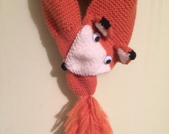 Knitted Animal Scarf - Fox or Wolf