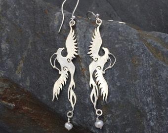 Firebird, Phoenix, bird Earrings with Pearls sterling silver