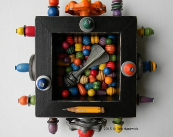 Recycled Art - Dive Bomb - Found Object Art - Mixed Media Assemblage by Jen Hardwick