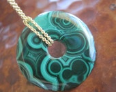 Malachite Necklace Luscious Green Donut Choice of Chain Multiple Eyes Rings Natural Pattern Gem Rock Artistan Jewelry