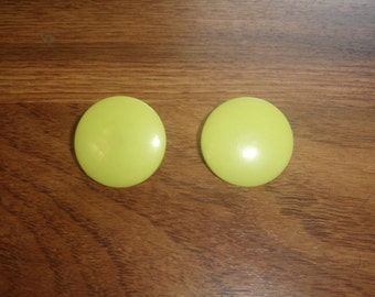 vintage clip on earrings large yellow circle